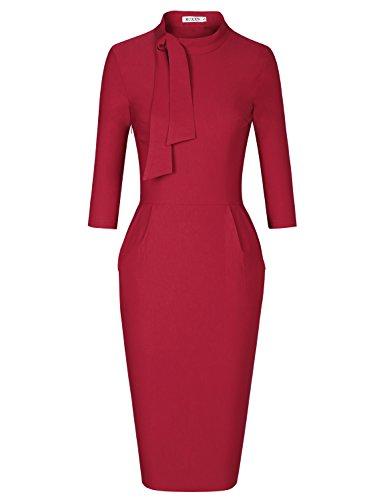 MUXXN Women's Retro 1960s O Neck Pockets Bodycon Formal Juniors Party Dress (Burgundy - Retro 60s Fashion