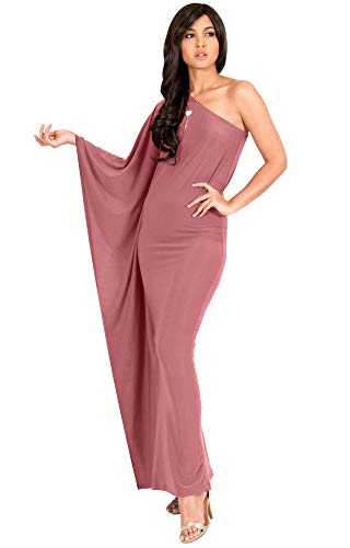 - KOH KOH Plus Size Womens Long One Off The Shoulder Evening Cocktail Bridesmaid Wedding Party Tube Guest Summer Formal Flowy Elegant Sexy Gown Gowns Maxi Dress Dresses, Cinnamon Rose Pink 3XL 22-24