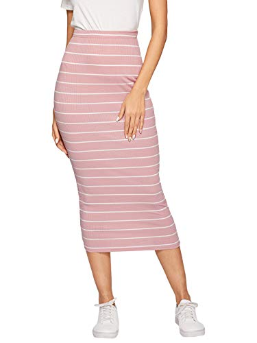 Letter Striped Pink - SheIn Women's Casual Ribbed Knit Letter Print Waist Striped Bodycon Pencil Midi Skirt Pink