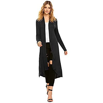 Women's Casual Long Open Front Drape Lightweight Duster High Low Hem Maxi Long Sleeve Cardigan(S-3XL) at Women's Clothing store