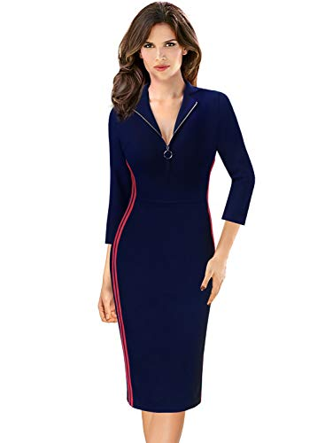 VFSHOW Womens Contrast Trim Zipper Front Fitted Work Business Casual Athleisure Dress 1095 BLU M