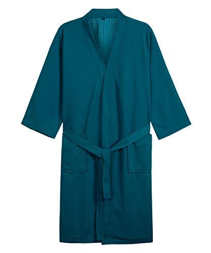 D.TopWarm Men's Turkish Waffle Cotton Robe Colored Rope Buckle Sleepwear LightweightSoft Pajamas Green-L (Colored Buckle)