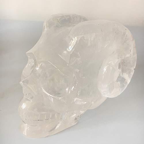 DingSheng 1000g Natural Clear Quartz Skull Figurine Hand-Carved Quartz Crystal Horn Devil Skull Healing Crystal Home Crafts