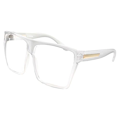 XL Super Oversized Clear Frame Lens Glasses Flat Top Square - Eyeglass Large Frames Extra