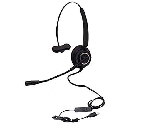 CALLANY Computer USB Headset Over-The-Head Hands-free Wired Headphone with Noise Cancelling Mic– Business Headset for Call Center (VH510 USB Monaural (Usb Headset Noise Cancelling)