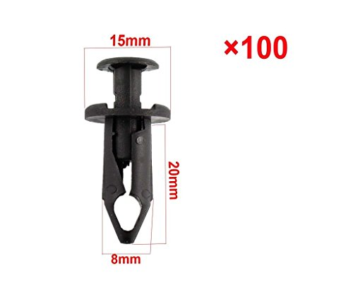 XtremeAmazing 100 x Black ATV Fender Retainer Clips Fasteners for Honda Suzuki Kawasaki Polaris Bumper