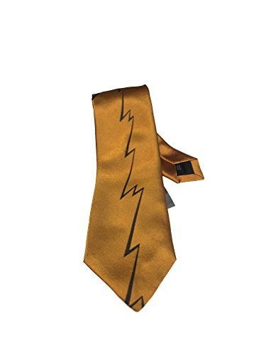 Thierry Mugler Paris Men's Designer Casual Suit Neck Skinny Tie (7CM Width Skinny Tie, Thunder Bolt Orange Pattern) -