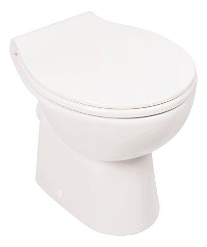 Stand-WC   Spülrandlos   Inklusive WC-Sitz   Tiefspüler   Abgang waagerecht   Weiß   Toilette   Spülrandloses WC   Klo   Toilettensitz   Stand-Wc   Design   Keramik   Modern   Hygiene