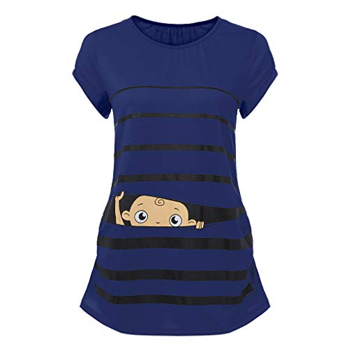 Woman Maternity T-Shirt,Stripe Baby Print Short Sleeve Ruched Side Top, Pregnancy Funny Fashion Style Blouse (Blue, - Ruched Fashion