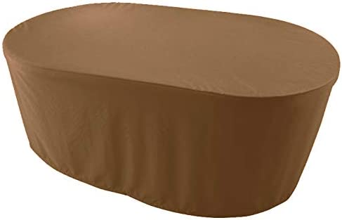 KaufPirat Premium Funda para Muebles de Jardín Ovalado 180x120x75 cm Cubierta Impermeable Funda para Mesa para Mobiliario de Exterior Café Latte