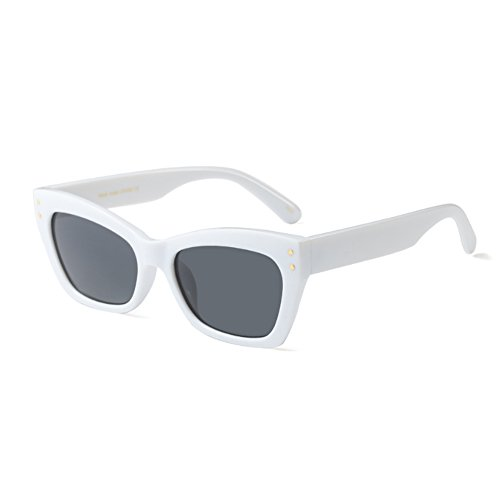 Cat Vintage rectangle Fuyingda Eye Hommes soleil Weiß cadre Sunglass Alles femmes Grau Mode de Lunettes vwxZtq