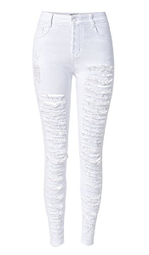 Olrain Womens Destroyed Ripped Stretch