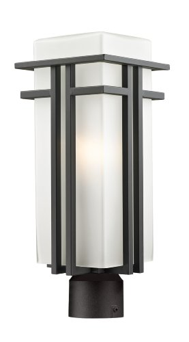 Z-Lite 550PHB-ORBZ-R Outdoor Post Light with Aluminum Frame Oil Rubbed Bronze Finish, Matte (Abbey Post Lantern)