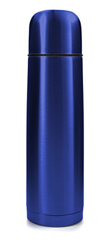 Blue Stainless Steel Vacuum Insulated Flask: Thermos Construction with Cup Cap and Pourable Stopper, 16.9 Ounces, For Hot or Cold - Thermos 16.9 Ounce