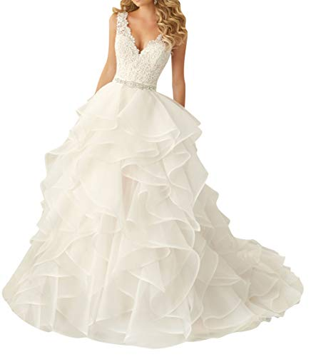 Wedding Dress for Bride Lace Brial Dresses with Belt A line Bride Dress V Neck Ruffles White