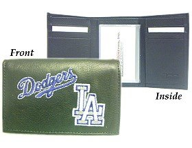 Leather Rock Tri Fold Wallet (Los Angeles Dodgers MLB Embroidered Leather Tri-Fold)