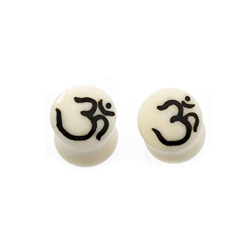 (Pair of Ear Plugs Made of Organic Horn Bone with Om Symbol Design)