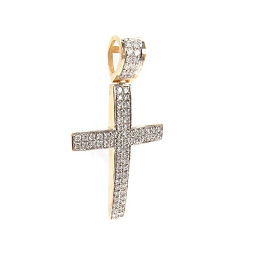 "14K Yellow Gold 2.40 Carat Genuine Round Cut Diamond 2"" Inches Cross Charm Pendant by Traxnyc"