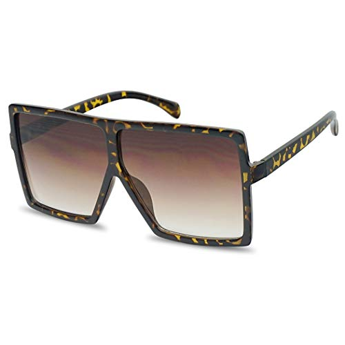 - Extra Large Oversized Slim Square Flat Top Shield Mod Sunglasses Designer Shades (Tortoise Frame | Brown)