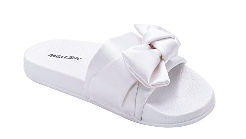 Satin slippers for women white