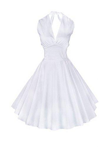 EkarLam Women's 1950s Pin up Vintage Marilyn Monroe Rockabilly Swing Dress White US 8/UK 10/AU 10(Tag (Marilyn Monroe Fancy Dress Size 8)