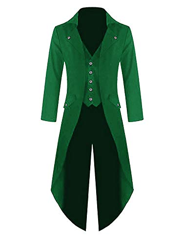 Mens Steampunk Victorian Jacket Gothic Tailcoat Costume Vintage Tuxedo Viking Renaissance Pirate Halloween Coats Green -
