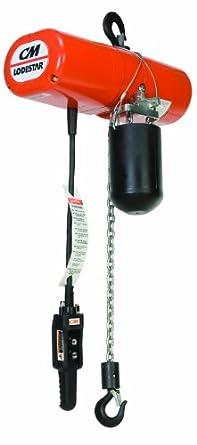 "CM Lodestar F 2752UC Electric Chain Hoist, Single Phase, Hook Mount, 1/2 Ton Capacity, 23' Lift, 16 fpm Max Lift Speed, 0.5 HP, 16-1/4"" Headroom, 1"" Hook Opening, 115V"