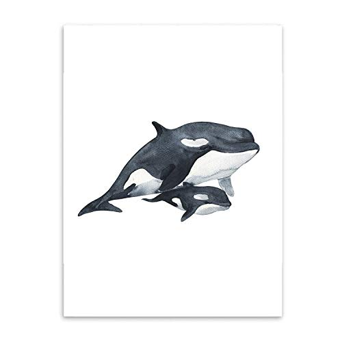 Be fearless Watercolor Whales Canvas Art Print Painting, used for sale  Delivered anywhere in USA