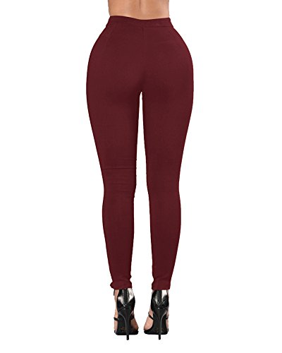 Jeans Rouge Pantalons Jean Crayon Femmes Slim Skinny Stretch Collants Bandage Jeggings rsille Denim Dchirs Vin Leggings Pantalon WIAqgaxn