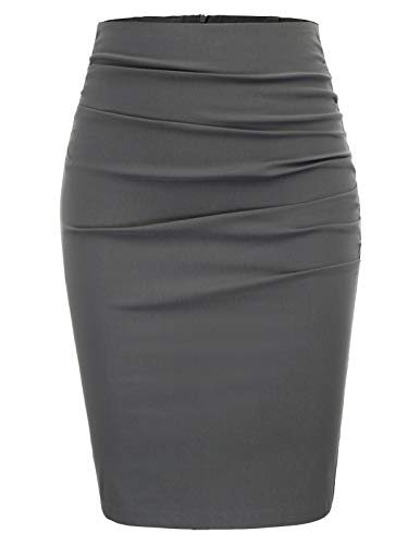 GRACE KARIN Women Elegant Ruched Work Business Party Pencil Skirt Size 2XL,Dark Grey