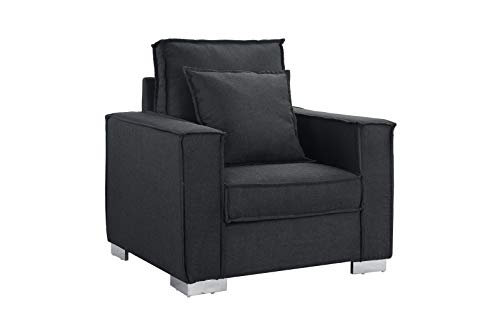 Living Room Large Linen Fabric Armchair, Living Room Accent Chair (Dark Grey)