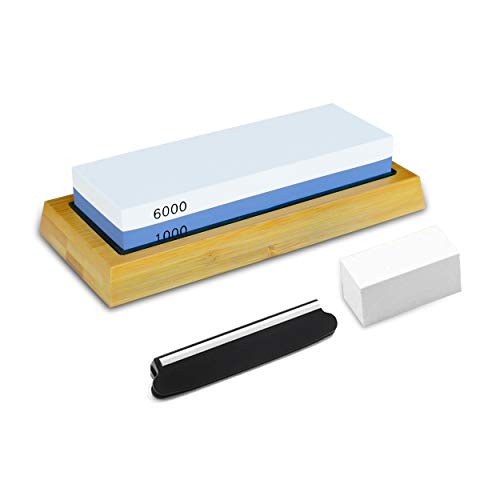 PHYEX Knife Sharpening Stone, Combination Dual Sided 1000/6000, with Non Slip Base, Flattening Stone & Angle Guide