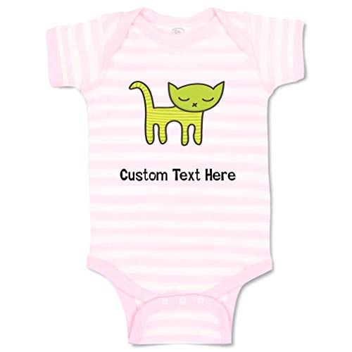 Custom Personalized Boy & Girl Baby Bodysuit Cat Green Toy Funny Cotton Striped Baby Clothes Stripes Soft Pink White Personalized Text Here Newborn