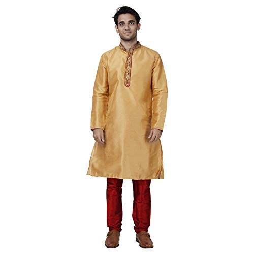 - Maharaja Mens Raw Silk Embroidered Kurta Pyjama Set for Weddings and Festivals in Khakhi [MSKP032-36]