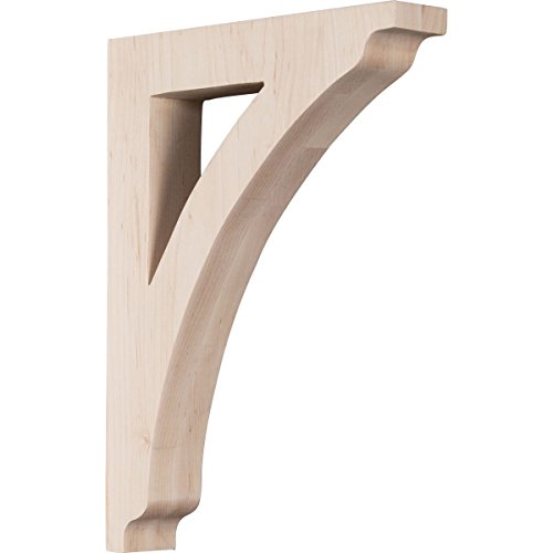 Ekena Millwork BKTW01X08X12THRW 1 3/4'W x 8 1/2'D x 12'H Large Thornton Wood Bracket, Rubber Wood