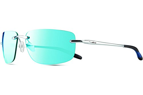 Revo Outlander RE 1029 03 BL Polarized Rectangular Sunglasses, Chrome Blue Water, 60 - Revo Lens Glass Sunglasses