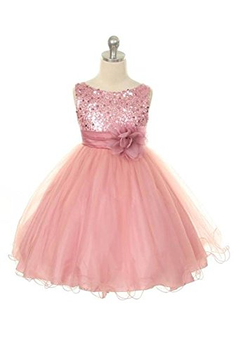 Sequin Bodice Tulle Special Occasion Holiday Flower Girl Dress - Dusty Rose - Dusty Silver