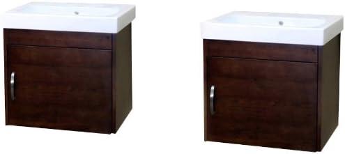 Bellaterra Home 203136-D 48.8-Inch Double Wall Mount Style Sink Vanity, Wood, Walnut