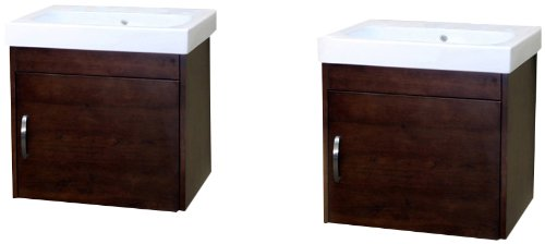 Bellaterra Home 203136-D 48.8-Inch Double Wall Mount Style Sink Vanity, Wood, Walnut - Wood cabinet, no MDF or Particle board Mounting hardware included Soft closing hinges - bathroom-vanities, bathroom-fixtures-hardware, bathroom - 317GFSsJ4dL -