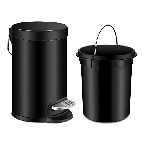 Round Wastebasket Steel Tall - YCTEC Bathroom Trash Can with Lid Soft Close, Round Step Mini Trash Can with Removable Plastic Inner Wastebasket and Stainless Steel Foot Pedal, Anti-Fingerprint Office Trash Can, 0.8Gal/3L, Black