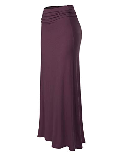 (MixMatchy Women's Basic Foldable High Waist Regular and Plus Size Maxi Skirts Eggplant L )