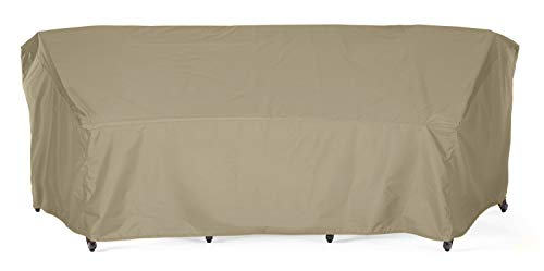 SunPatio Outdoor Crescent Curved Sectional Sofa Cover, 120″L/82″L x 36″W x 38″H, Lightweight, Water Resistant, Eco-Friendly, Helpful Air Vent, All Weather Protection, Neutral Taupe
