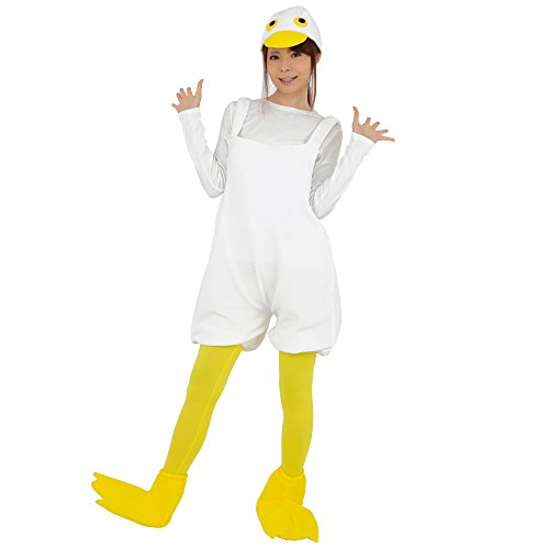 s Cute Duck Costume, White - Overall, Headpiece, Tights, Shoe Covers - Halloween Dress (Duck Head Shoes)