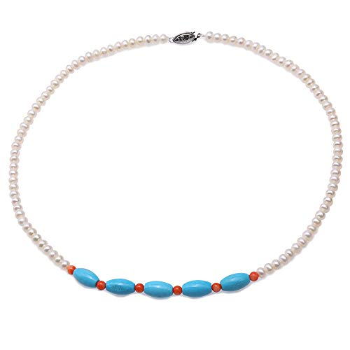 JYX 5-5.5mm Flatly Round White Cultured Freshwater Pearl Necklace with Turquoise and Coral for Women 19