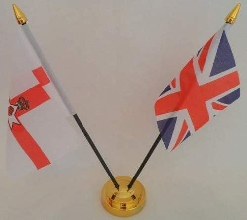 Irlanda del Norte rojo mano de Ulster bandera de Reino Unido 2 bandera amistad banderas de la bandera de sobremesa mesa centro con oro base ideal para fiestas conferencias oficina pantalla: Amazon.es: