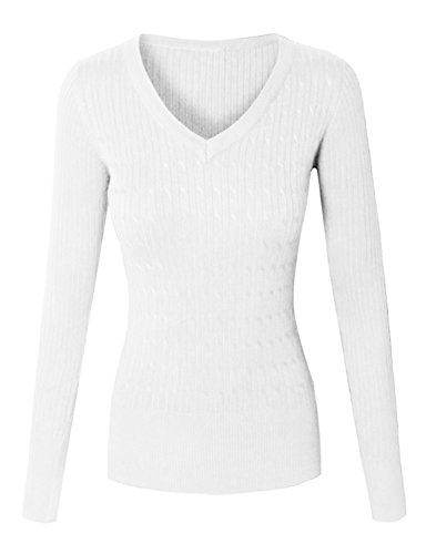 makeitmint Women's Basic V-Neck Twisted Cable Soft Knit Pullover Sweater [S-XL] Small YISW0026_26IVORY -