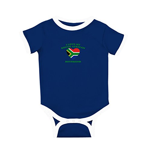 fan products of Cute Rascals I Love My South African Boyfriend Cotton Short Sleeve Crewneck Unisex Baby Soccer Bodysuit Sports Jersey - Royal Blue, 6 Months