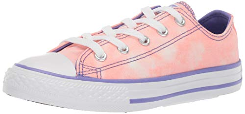 (Converse Girls Kids' Chuck Taylor All Star Tie-Dye Low Top Sneaker Bleached Coral/Wild Lilac 12 M US Little)