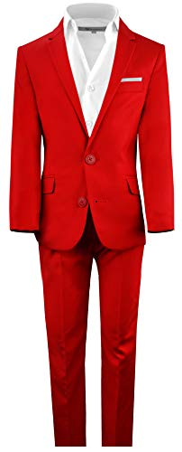 Black n Bianco Boys' First Class Slim Fit Suits Lightweight Style. Presented by Baby Muffin (6, Fiery Red)
