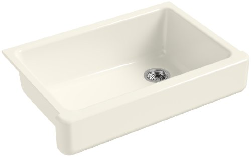 2in Depth Single Bowl Sink - KOHLER K-5826-96 Whitehaven Self-Trimming Under-Mount Single-Bowl Sink with Short Apron, Biscuit